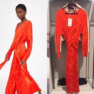 Zara Jacquard Maxi Kimono Style Dress with Knot